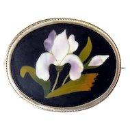 Antique Hardstone Pietra Dura Mosaic Iris Flower Pin, .800 Silver Setting