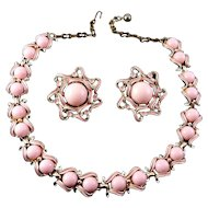 1960's Gold & Pink Enamel Adj. Necklace w/ Lg Clip Earrings - Pink Acrylic Cabochons