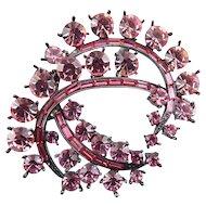 Sparkling Rose Pink Rhinestones & Gunmetal Pin - Linked Swirls, Lg. Stones