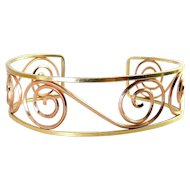 Probst Yellow & Rose Gold-Filled Scrolls Cuff