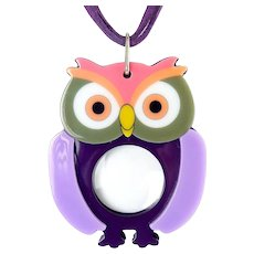 Colorful Purple Multi Acrylic Owl Magnifier Pendant Necklace, Magnifying Glass, Faux Suede Cords