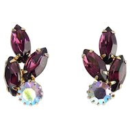 1960's Purple Marquise & Lilac AB Rhinestone Clip Earrings