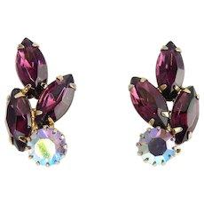 1960's Purple Marquise & Lilac AB Rhinestone Clip Earrings