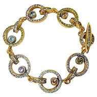 "Patricia Locke Locomotion Circle Links Bracelet, Gold Plated, Multicolor Rhinestones, 7 1/2"" Length"