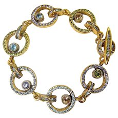 "Patricia Locke Locomotion Circle Links Bracelet, Gold Plated, Multicolor Rhinestones, 7 1/2"" Length"
