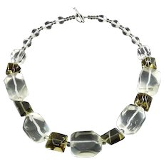 Chunky Crystal Quartz & Smoky Quartz Faceted Beads Necklace, Sterling Clasp