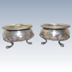 Pair 1840's Important Coin Silver Open Master Salts, Paw Feet, Robert Rait NY, 11 Troy Oz, Antique American