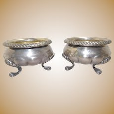 Pair 1840's Important Coin Silver Open Master Salts, Robert Rait NY, 11 Troy Oz, Paw Feet, Antique American