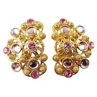 Jose Barrera for Avon Marbella Large Clip Earrings, Pink & Lilac Rhinestones & Glass Cabochons