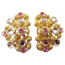 Jose Barrera for Avon Marbella Large Clip Earrings, Pink & Lilac Rhinestones & Glass Cabochons