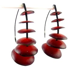 Post Modern Red Graduated Cups Earrings, Blackened Sterling Silver V-Wires