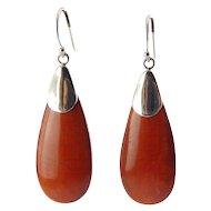 Sterling Silver & Red Jasper Teardrop Pendant Earrings, Pierced