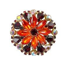 1960's Vivid Red, Orange & Fuchsia AB Rhinestones Round Flower Brooch Pin