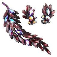 REGENCY Lavender & Red AB Rhinestones Long Leaf Brooch Pin & Earring, Japanned Black