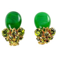 1960's Roger Van S Emerald Glass & Olivine Rhinestone Clip Earrings