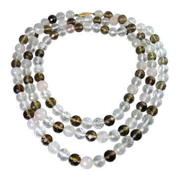 Long Genuine Crystal, Rose Pink & Smoky Quartz Faceted Beads Necklace, 41 1/4 Inches, 14K Clasp