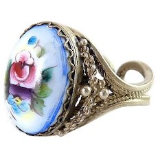 Russian Finift Enamel Rose & Pansy Porcelain Cabochon in Silver Filigree