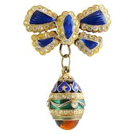 Russian Sterling Vermeil Gilt Enamel Egg  with Amber and Bow Pin