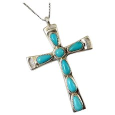 """ZUNI R. Iule Sterling Silver & Turquoise Cross Pendant, 25"""" Chain Necklace"""
