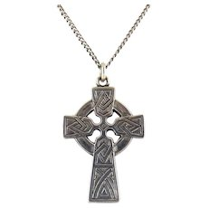 C1950 Sterling Silver Celtic Cross Pendant Necklace