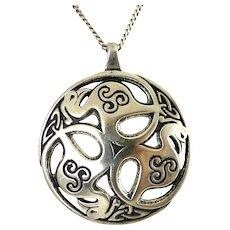 Sterling Silver Celtic 3 Birds of Rhiannon Pendant Necklace