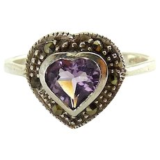 Sterling Silver Amethyst Heart with Marcasites Ring, New Old Stock