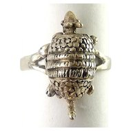 Sterling Silver Armadillo Mechanical Ring, Head, Tail & Feet Move