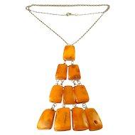 Vintage Baltic Amber & .833 Silver 4-Tier Modernist Pendant Necklace
