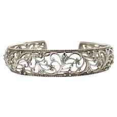 Sterling Silver Beaded Scrolls Lace Cuff, Pierced Design