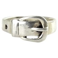 Sterling Silver Band Ring with Buckle Front