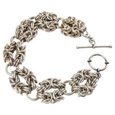 Heavy Sterling Silver Byzantine Cluster Links Bracelet, 55 Grams, Toggle Clasp
