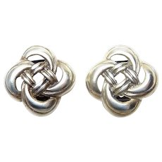 Sterling Silver Celtic Four Loop Love Knot Clip On Earrings, Made in Italy