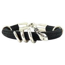 Sterling Silver Coiled Snake Around Black Cord Bracelet, Sterling Hook Clasp