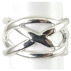 Sterling Silver Criss-Cross Bands Ring, Size 7 1/2, New Old Stock