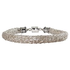 Sterling Silver Crochet Mesh Tubular Bracelet with Magnetic Clasp