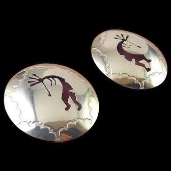 Sterling Silver Native American Kokopelli Dancer Dome Earrings, Pierced