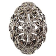 1920's Art Deco Sterling Silver & Marcasites Floral Oval Ring