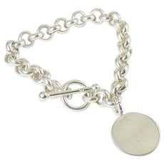Sterling Silver Rolo Link Charm Bracelet, Toggle Clasp, Disk Charm, Can Be Engraved