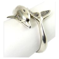 Heavy Sterling Silver Dolphin Cuff Bracelet, Wraparound Tail, 39 Grams