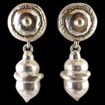 Big Sterling Silver Dome Top & Acorn Pendant Drop Earrings, Pierced Omega Backs
