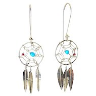 Sterling Silver Dream Catcher & Feather Pendants Earrings, Coral & Turquoise Beads