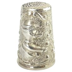 Sterling Silver Thimble - Boy Duck Dressed in Pants, Shirt & Hat
