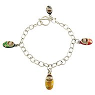 Sterling Silver & Multicolor Enamel Baby Booties Shoes Charm Bracelet