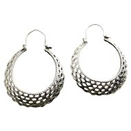 Sterling Silver Ethnic Hoop Earrings, Graduated Arcs, Cut-Out Patterns