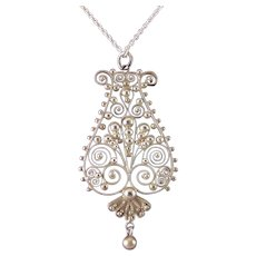 Sterling Silver Etruscan Revival Cannetille & Granulation Filigree Pendant Necklace