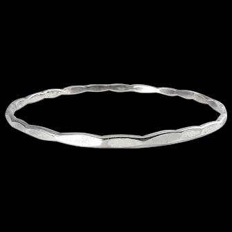 Vintage Sterling Silver Faceted Ellipses Bangle Bracelet