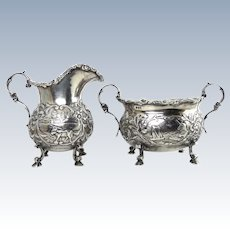 Scenic 19thC Sterling Hanau Silver Creamer & Sugar Bowl by Berthold Muller, Hand Chased