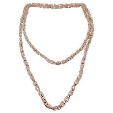 Sterling Silver Hand-Made Nested Oval Links Chain Necklace, 37 Inches