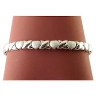 Sterling Silver Hearts & Kisses Link Bracelet, Bright & Satin Finishes