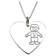 Large Sterling Silver Heart Pendant, Embossed Boy Figure, 30 Inch Necklace